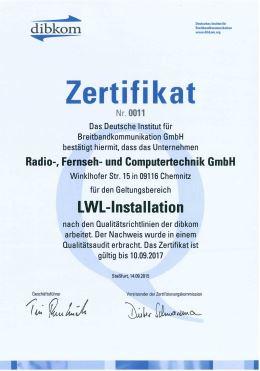 Zertifikat LWL